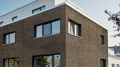 "Photo of Basalt fiber façade panels in ""stone"" design released by Rockwool"