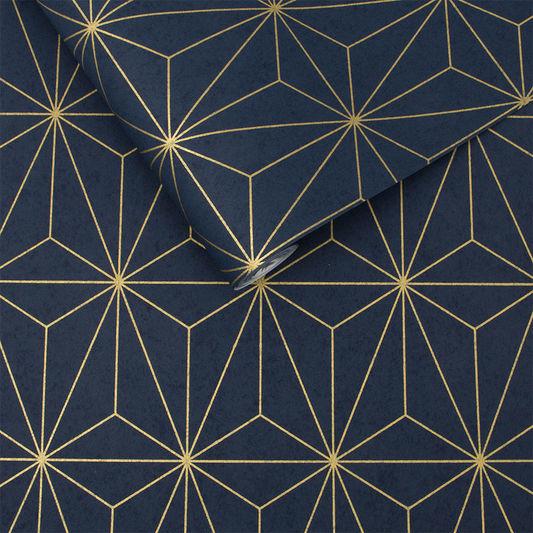 Prism navy & gold behang van Graham & Brown