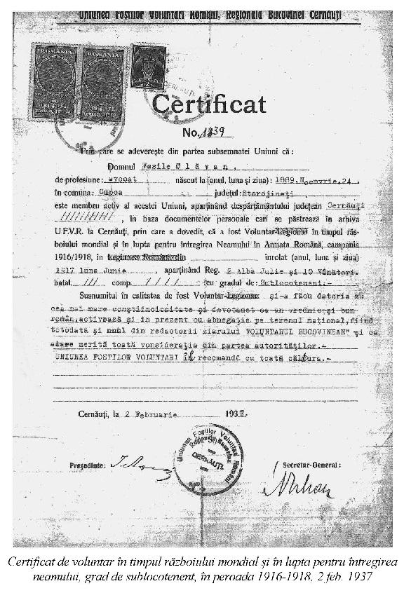 Vasile Plavan Volunatar pentru reintregirea neamului - Basarabia-Bucovina.Info
