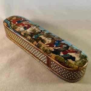 Stifte-Box mit persischer Khatam-Verzierung, handbemalt mit Reiterszene