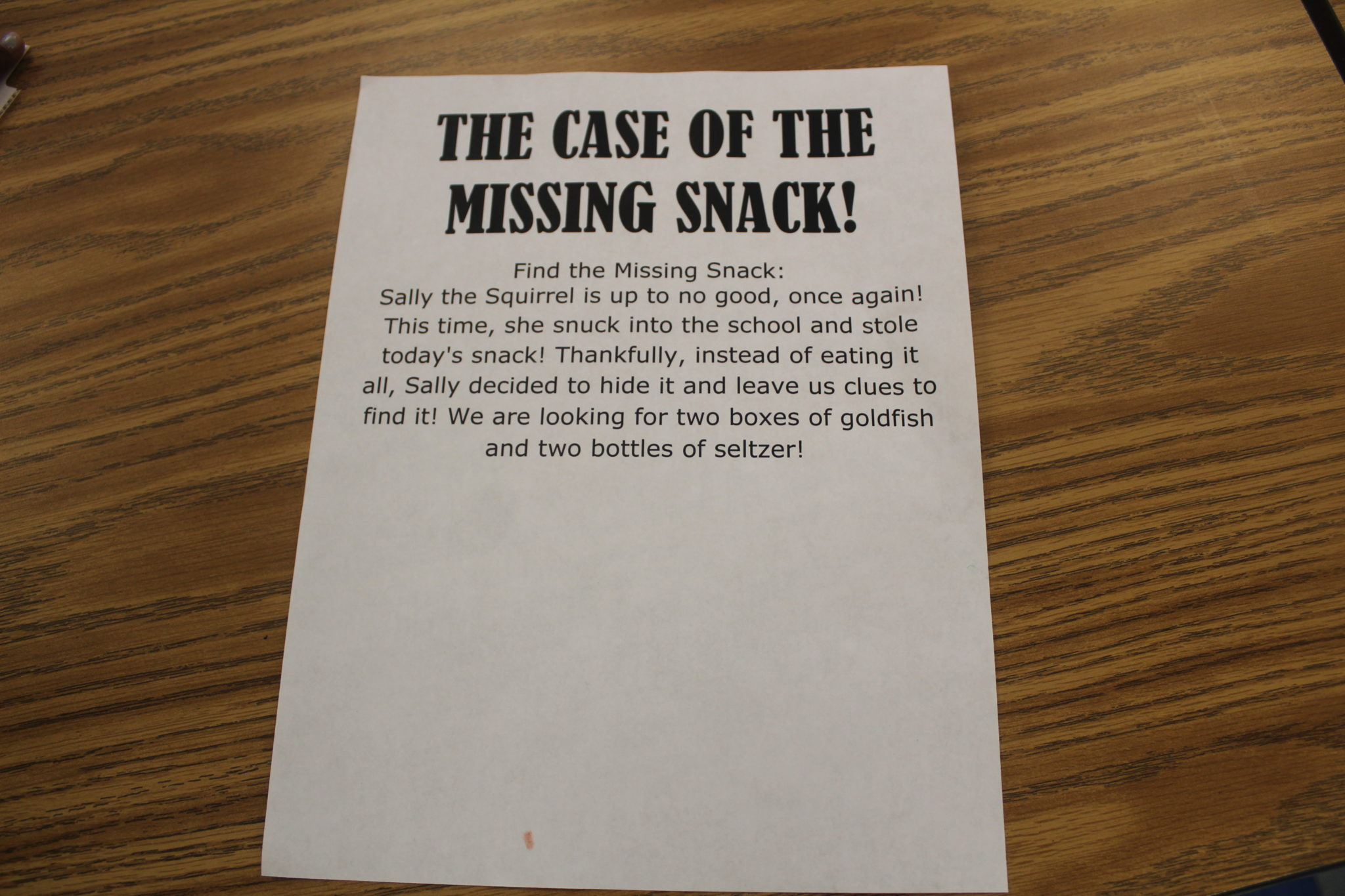 The Case of the Missing Snack