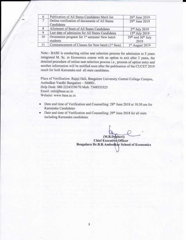 BASE Admission procedure notice – Bengaluru Dr  B  R