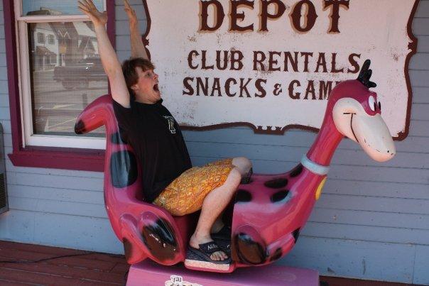 Roscoe Enjoying His Traditional Dino Ride in Celebration