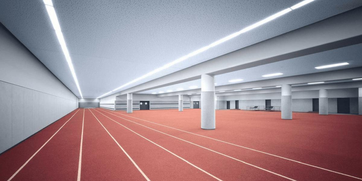 unterirdische Aufwärmhalle im Olympiastadion