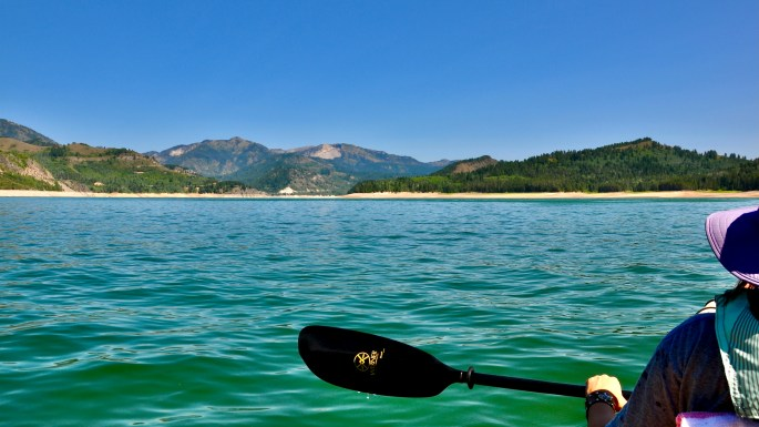 Kayaking from Calamity Campground, Palisades Reservoir