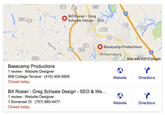 Google Local SEO results box