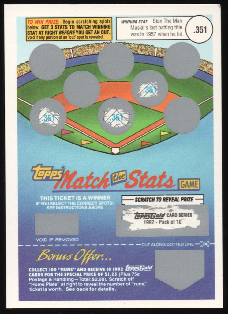 1992 Topps Match The Stats Game Winner