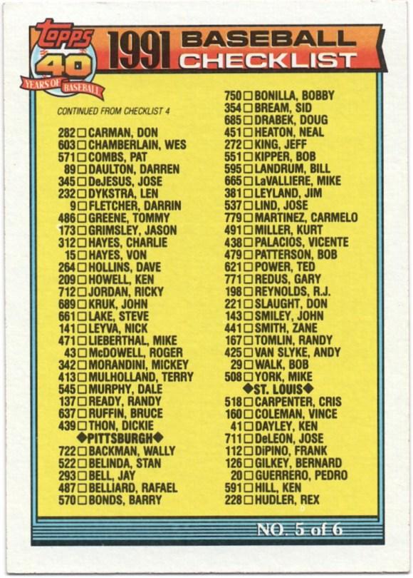 1991 Topps #656 Checklist #438 V.Palacios; #537 J.Lind; #381 J.Leyland; #665 M.LaValliere (Corrected)
