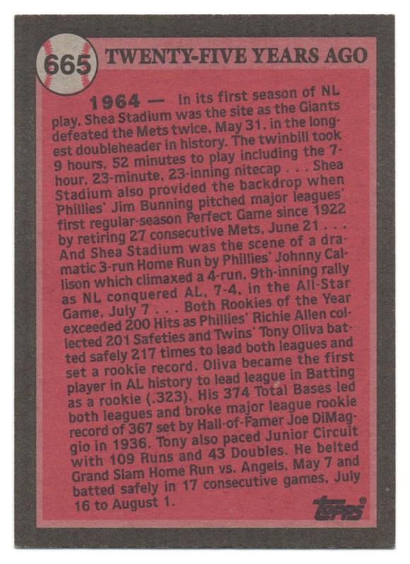 1989 Topps #665 Tony Oliva (No Copyright Line) Back