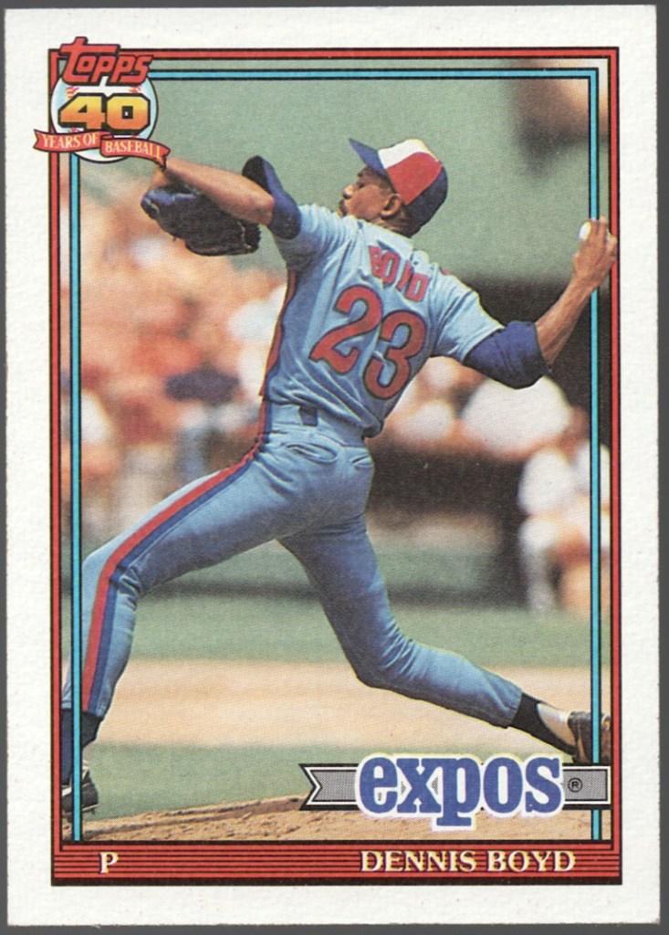 1991 Topps #48 Dennis Boyd (black flag tip)