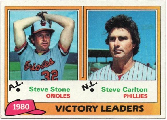 1981 Topps #5 1980 Victory Leaders - Steve Stone / Steve Carlton