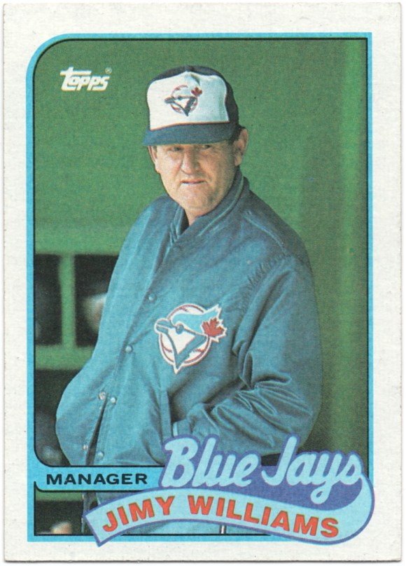 "1989 Topps #594 Jimy Williams (Blue in space above J in ""Jays"")"