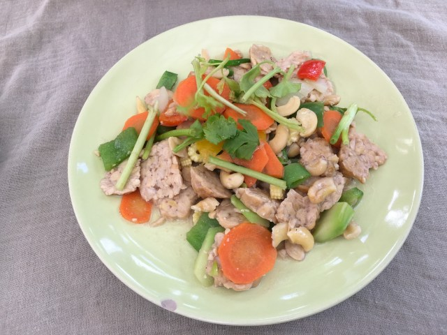 Fried Cashew with Tempeh at Pink House Garden Chiang Mai
