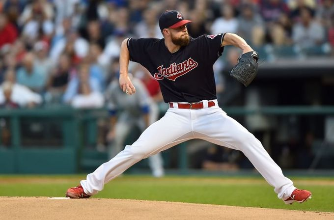 Sep 21, 2016; Cleveland, OH, USA; Cleveland Indians starting pitcher Corey Kluber (28) throws a pitch during the first inning against the Kansas City Royals at Progressive Field. Mandatory Credit: Ken Blaze-USA TODAY Sports