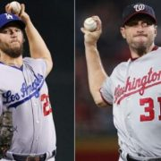 Pitchers Clayton Kershaw and Max Scherzer (Photos by The Associated Press)