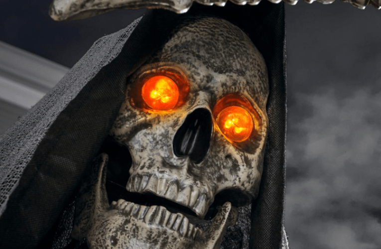 THE BASEMENT'S HALLOWEEN HAVEN: 7 Foot ANIMATED LED Inferno Reaper by Home Accents