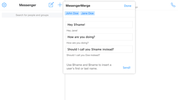 "MessengerMerge لمراسلة 16 شخصاً على ""فيسبوك"" مرة واحدة"