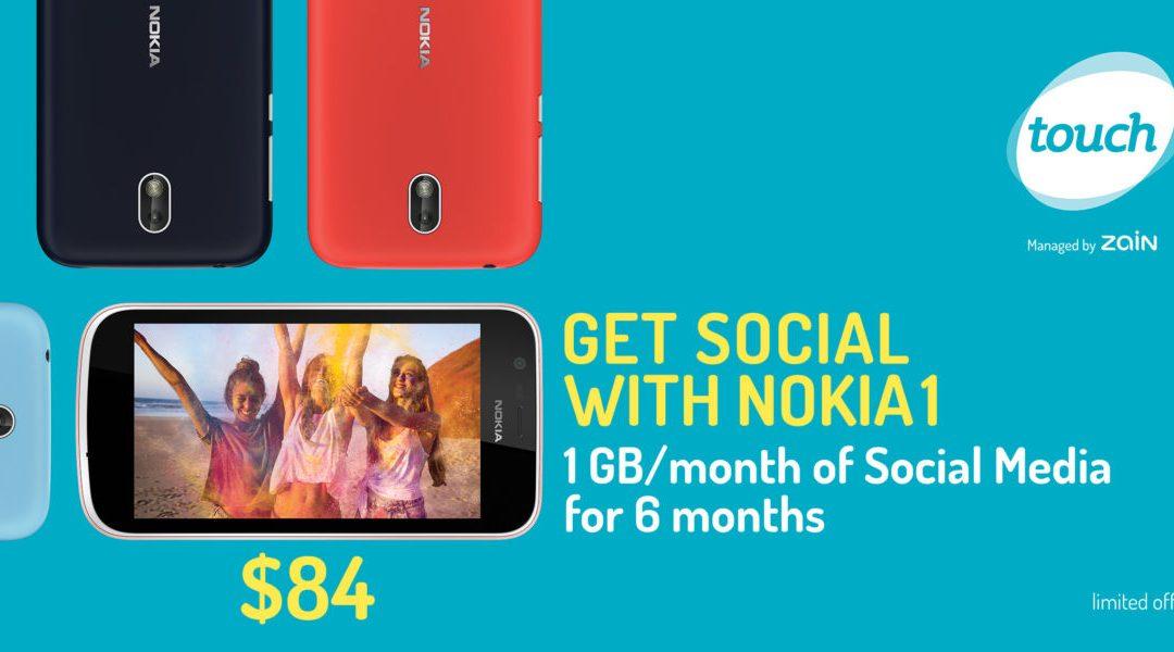 تاتش تطرح عرض Nokia 1 المميز لزبائنها  المزوّد بالجيل الرابع بسعرٍ تنافسي حزمة جديدة تتضمن 6 أشهر إنترنت بسعة 1GB في الشهر  للإستخدام المجاني  لوسائل التواصل الإجتماعي مقابل 84 دولار أميركي فقط