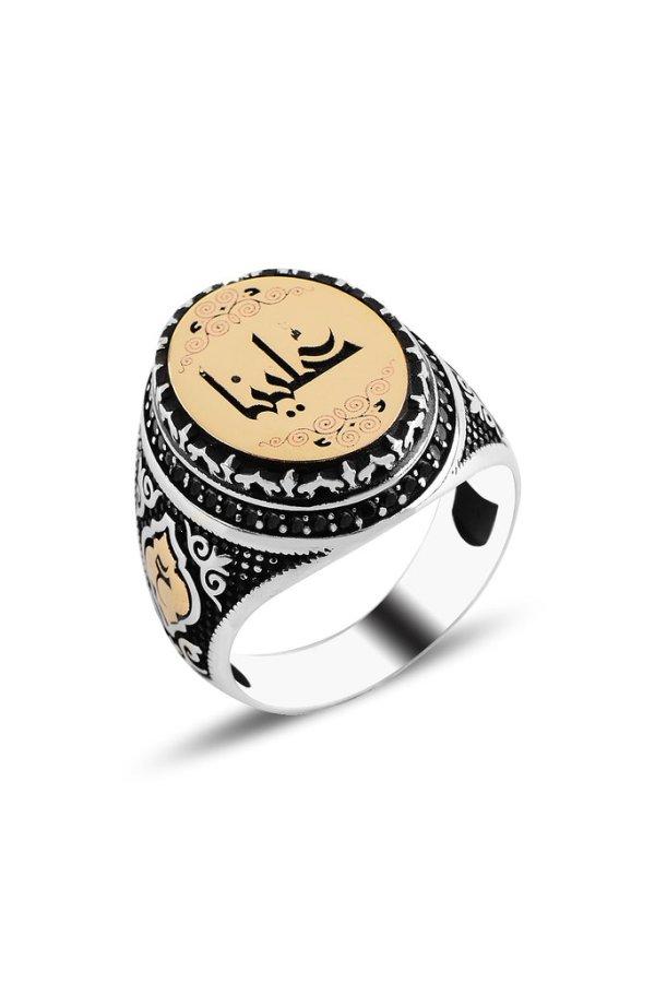 خاتم فضة رجالي بيضوي مع إمكانية حفر الإسم باللغة العربية عيار 925