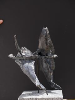 Two Mercy whale bronze sculpture