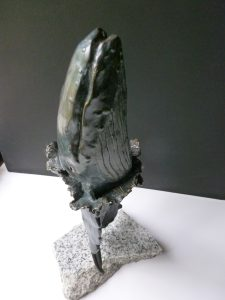 Mercy Two single whale bronze sculpture