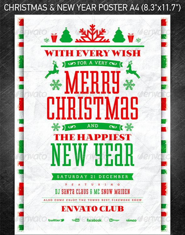 poster on christmas and new year