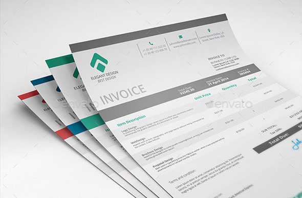 37 Best PSD Invoice Templates For Freelancer   Web   Graphic Design     by Elegant Design  A Clean and Sharp Invoice Template