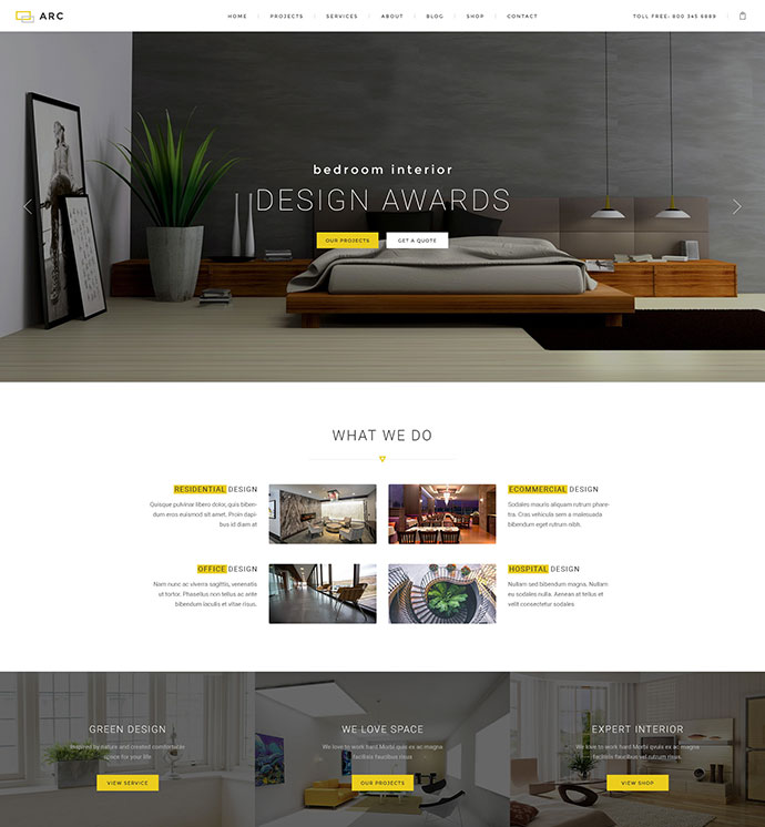 ARC - Interior Design, Decor, Architecture Business PSD Template