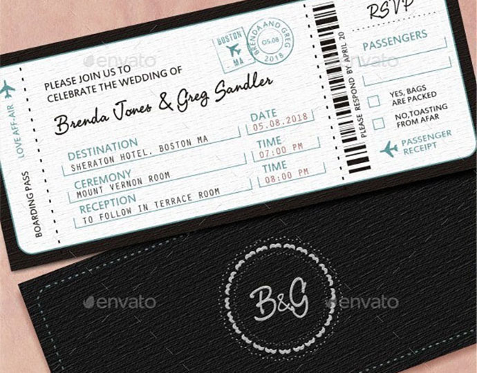 20 cool ticket wedding invitation
