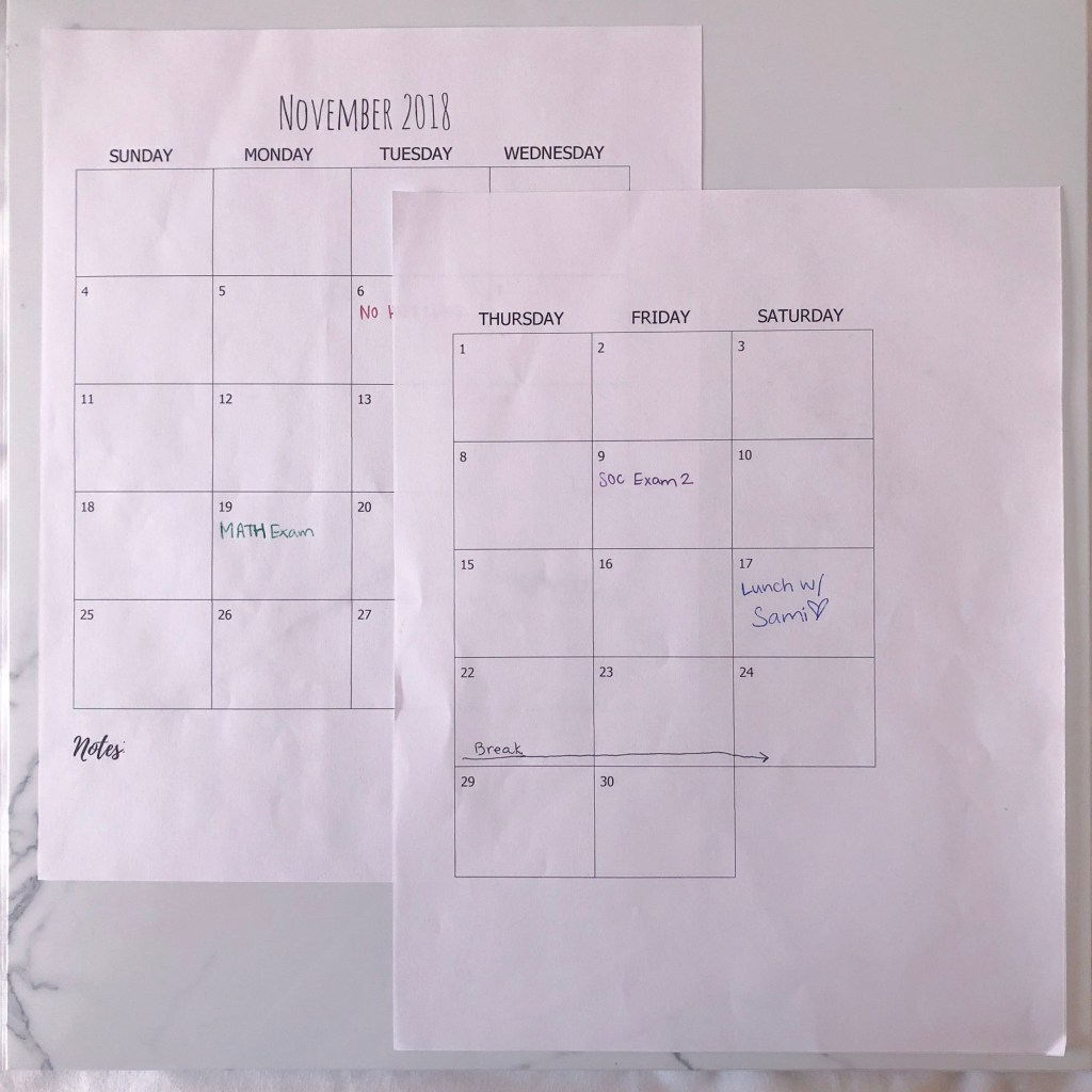 Monthly calendar student planner