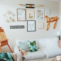 college apartment living room gallery wall