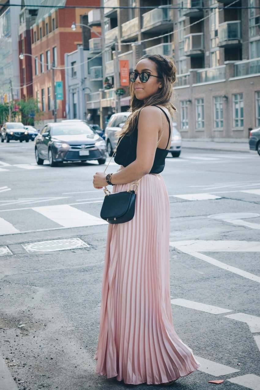Fashion Blogger Lauren Sheriff of Basic Babe Wearing a Pleated Maxi Skirt From Make Me Chic