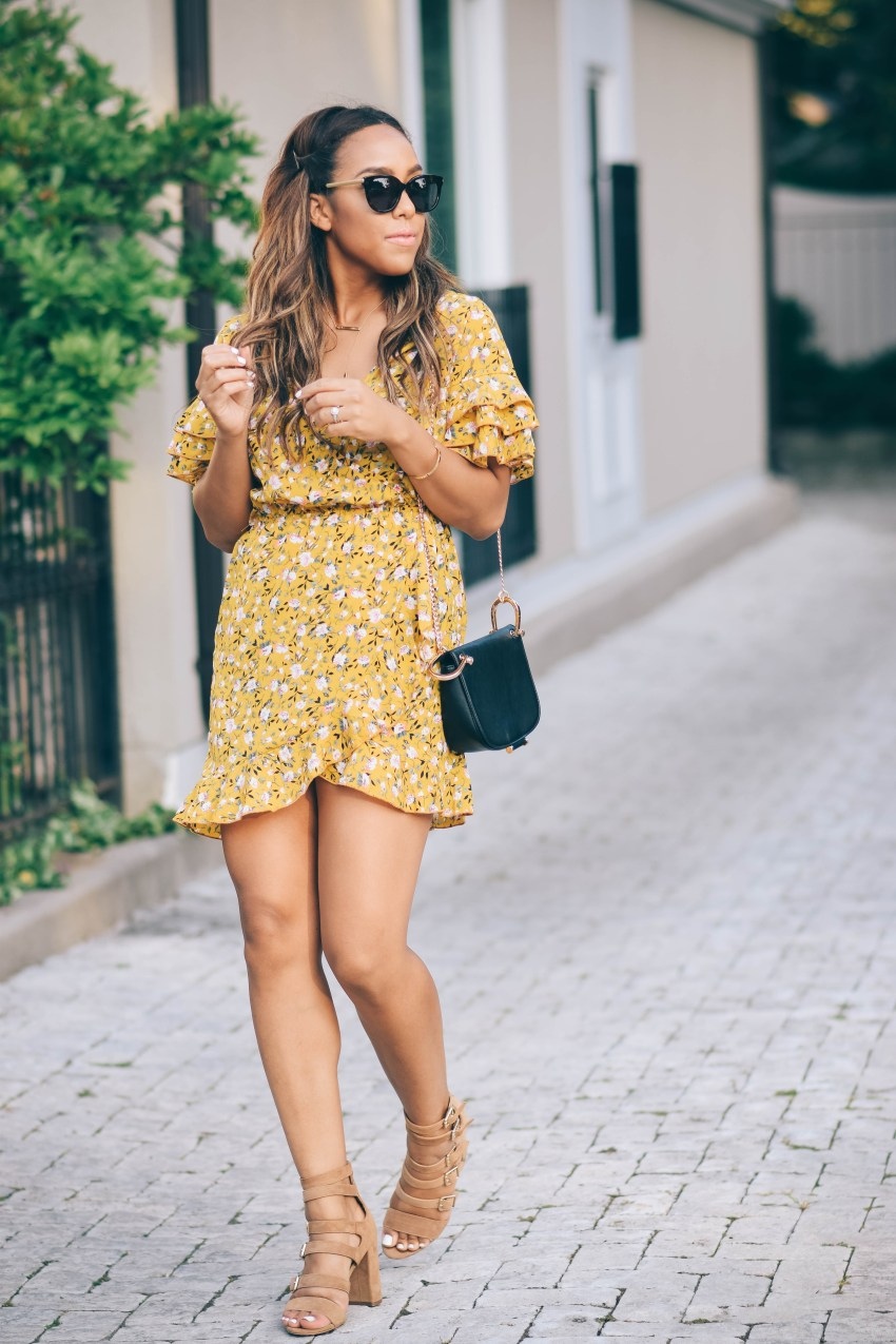 missguided floral wrap dress