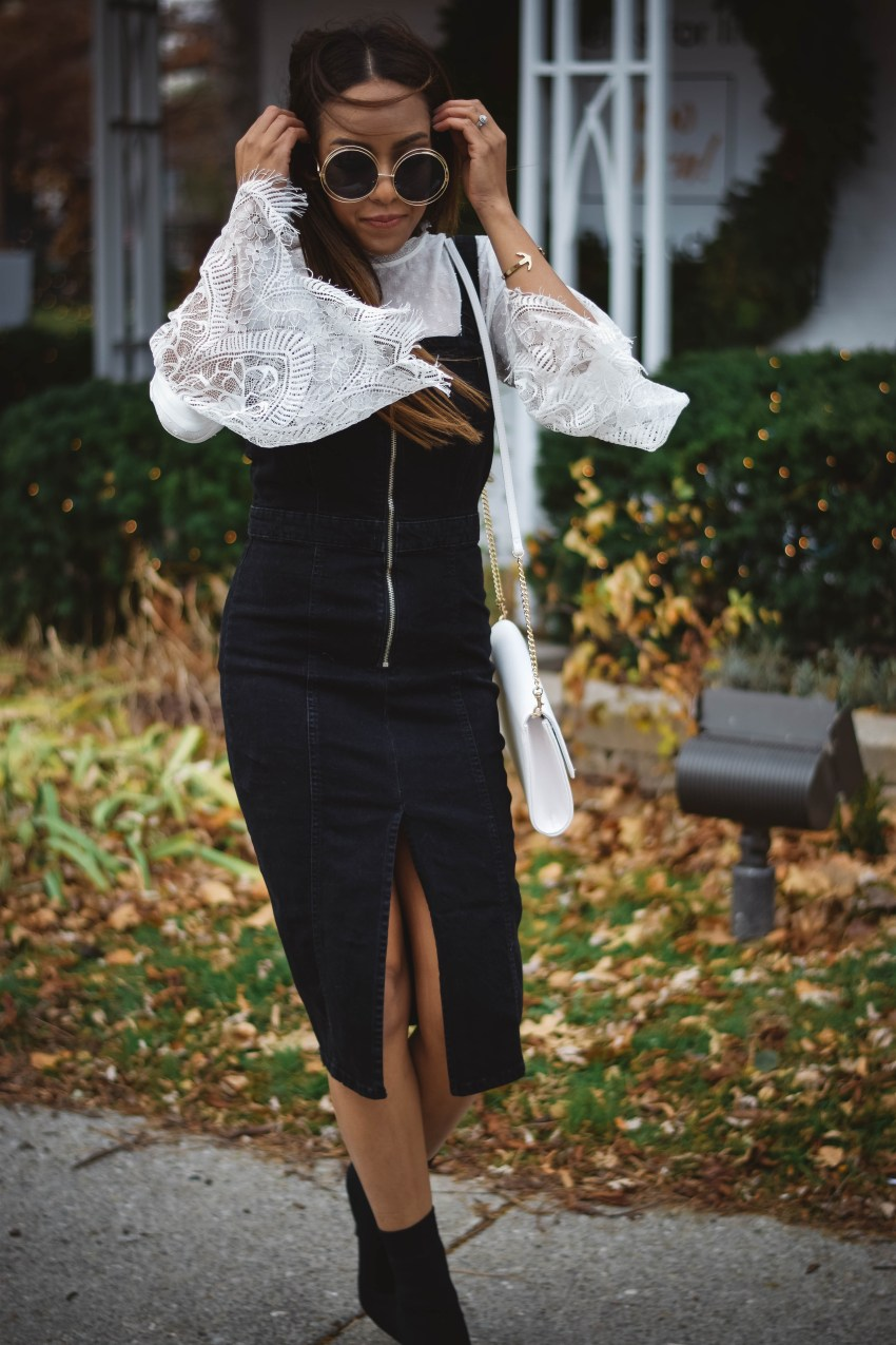 Zara Denim Dress, Missguided Lace Top Basic Babe Lauren Sheriff