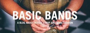The logo for Basic Bands watch strap fashion blog.