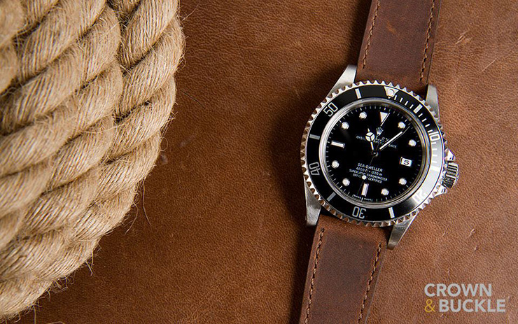 Rolex Sea Dweller on Crown & Buckle Black Label Brown Leather Strap