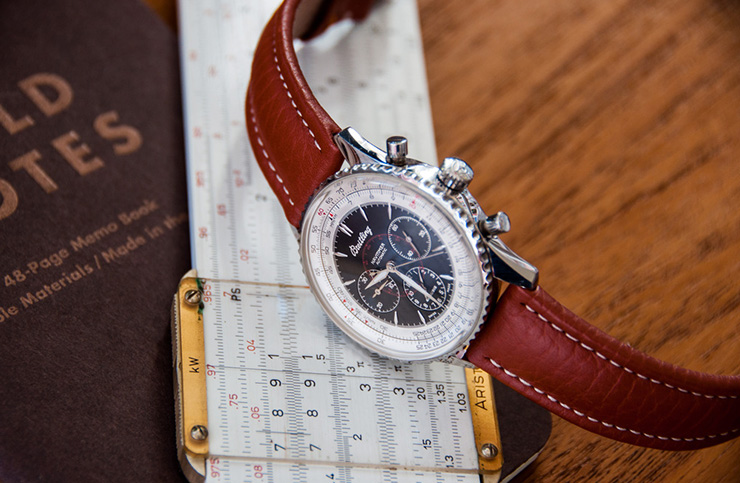 Red Brown leather strap on a Breitling watch.
