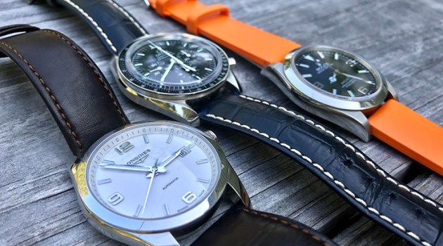 Rolex Omega and Longlines Watches on Hirsch straps