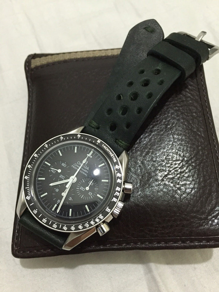 Neptune Straps Black Leather Rally Strap on Omega Speedmaster
