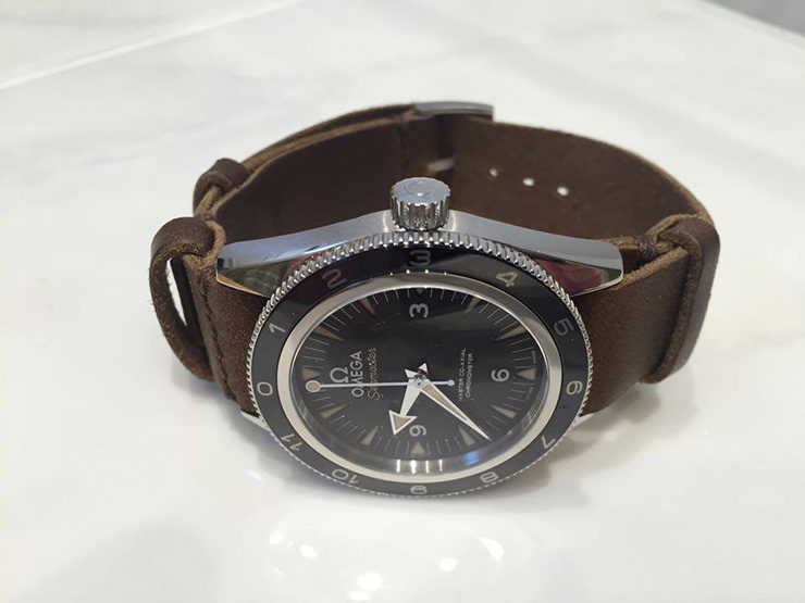 Neptune Straps Brown Leather Watch Strap on Omega Speedmaster