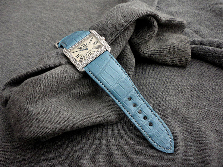 Cartier Tank Divan Diamonds on Baby Blue Pearlescent Alligator Watch strap with padding at the lugs and Silver Metallic stitching