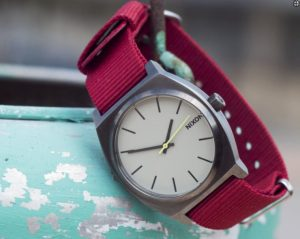 Crimson NATO Watch strap on Nixon by Barton Bands