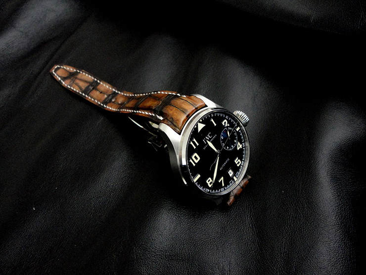 IWC le Petit Prince on Alligator Watch strap with Hand Antiqued finish
