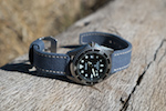 Red Rock Strap Sea Blue Canvas Custom Watch Strap on Seiko