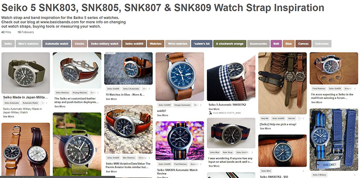 Seiko 5 SNK803, SNK805, SNK807, SNK809 and SNKM95 Watch Strap Inspiration