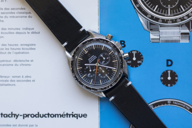 Two-Stitch Black Strap on an Omega Speedmaster