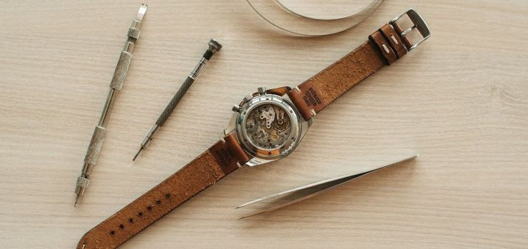 Two-Stitch Straps Leather Honey Watch Strap