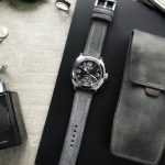 Bas & Lokes BOURNE light grey padded suede watch strap