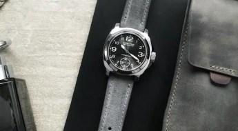 Bas & Lokes BOURNE light grey padded suede watch strap