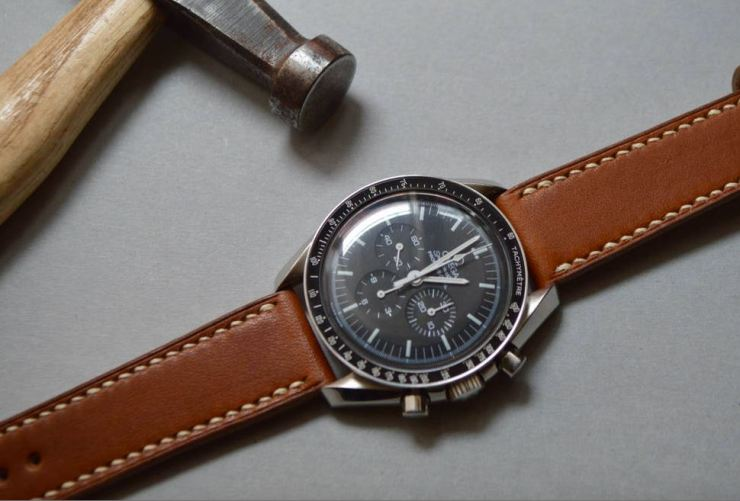 Jones in Tokyo Brown Strap on an Omega Speedmaster